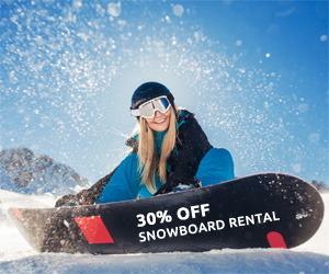 30% off snowboard hire
