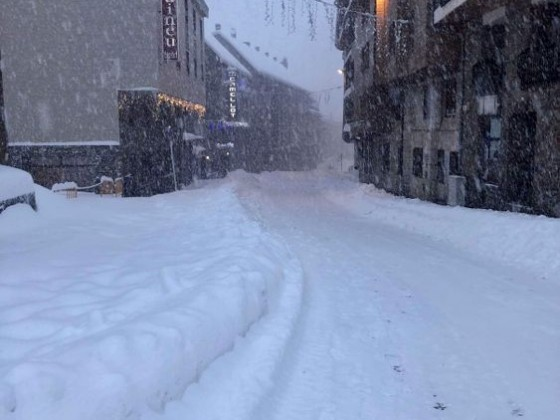 Fresh snowfall in the town centre