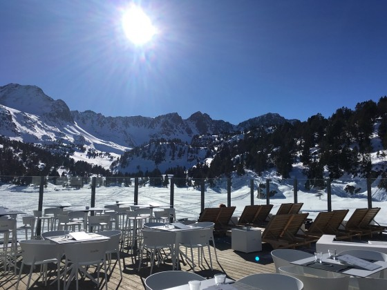 Amelie Experience terrace on a beautiful bluebird day
