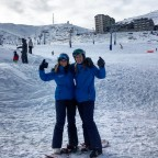 Ellen and Rebecca at the bottom of the Font Negre 6 man chairlift