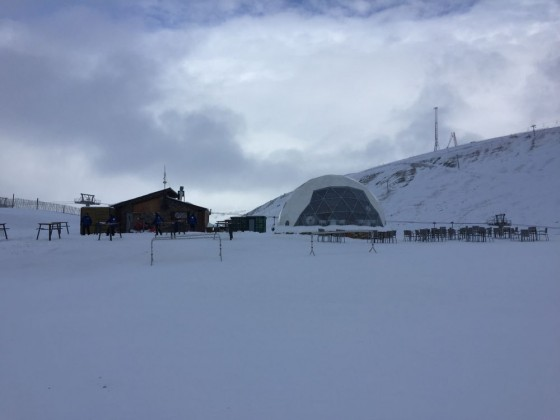 Skiing past where the Iglu Hotel will be built