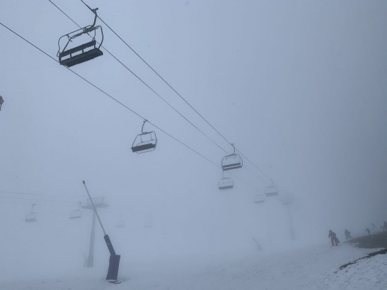 Solana chairlift on a snowy day