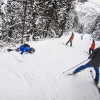 Falling off the piste on the Bosc de Moreto run through the trees