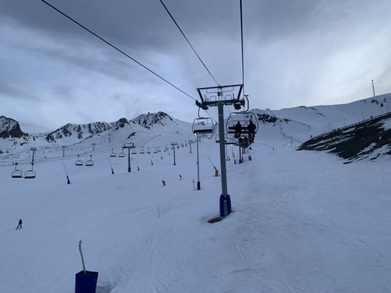 Solana chairlift during night skiing