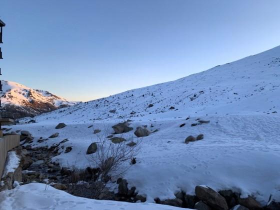 The stream that separates Andorra and France in Pas de la Casa
