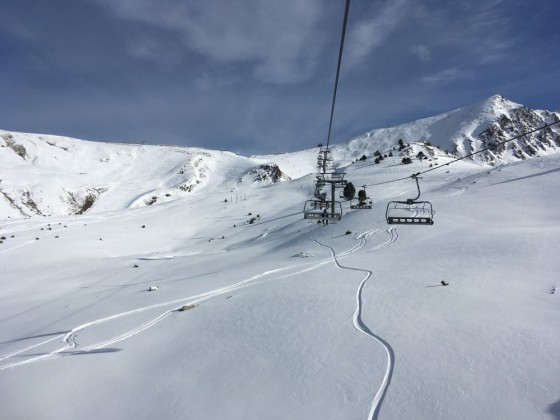 Fresh tracks under Pic Blanc chairlift
