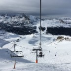 Admiring the view, looking back from the Pic Blanc chairlift