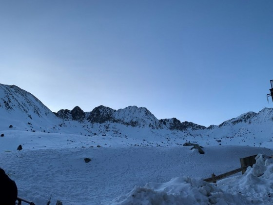 Sunrise over an unmarked piste