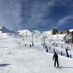 Riding down the slopes into the base of Pas de la Casa town