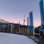 Sunrise over the mountains next to the Solana chairlift