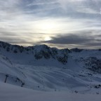 Gorgeous sunset behind the mountains. Taken from the top of the red Pista Llarga run looking towards Grau Roig.