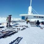 Skiers take a rest