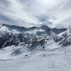 Stunning mountain views - looking across to the red Cami des Pessons run from the top of the Cubil chairlift.
